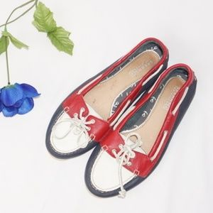 Sperry Red, White, and Blue Topsiders, Size 7.5